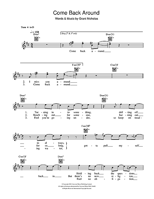 Come Back Around (Lead Sheet / Fake Book)