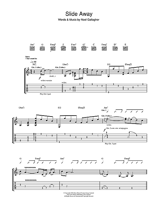 Tablature guitare Slide Away de Oasis - Tablature Guitare