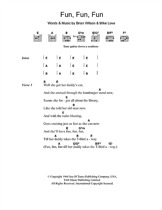 Fun, Fun, Fun sheet music by The Beach Boys (Lyrics ... - photo#18