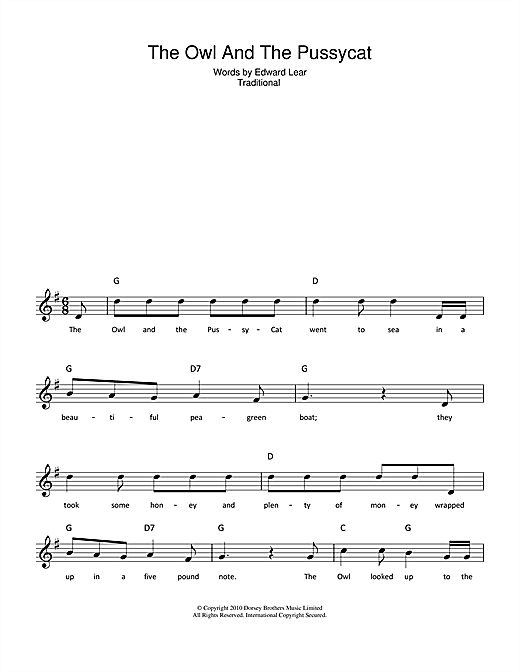 The Owl And The Pussycat Sheet Music
