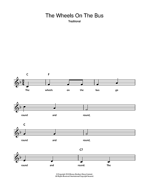 The Wheels On The Bus chords by Traditional (Melody Line, Lyrics ...