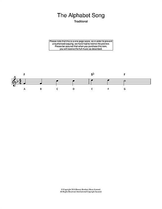 Alphabet Song Sheet Music