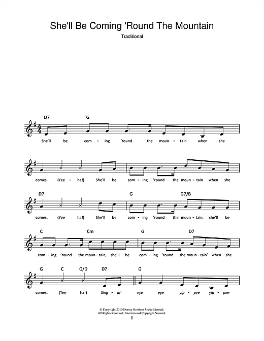 She'll Be Coming 'Round The Mountain Sheet Music