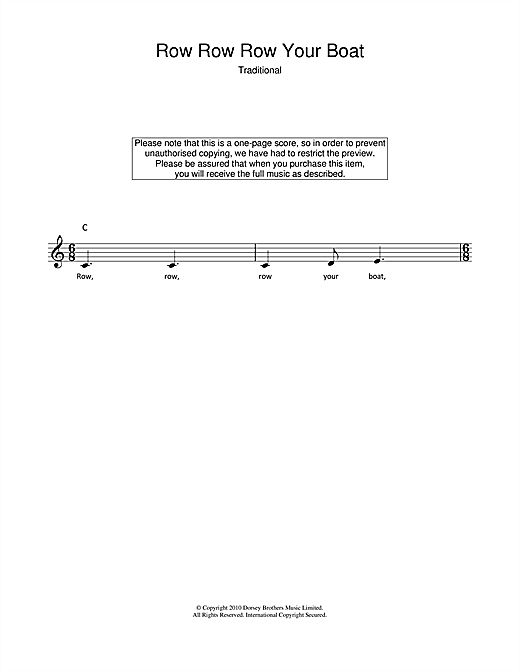 Row, Row, Row Your Boat chords by Traditional (Melody Line, Lyrics ...