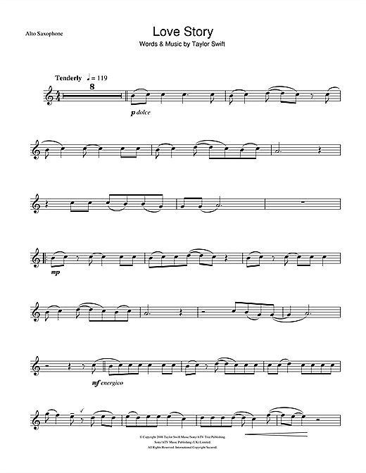 Partition saxophone Love Story de Taylor Swift - Sax Alto