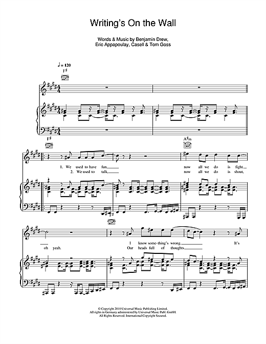 Writing's On The Wall Sheet Music