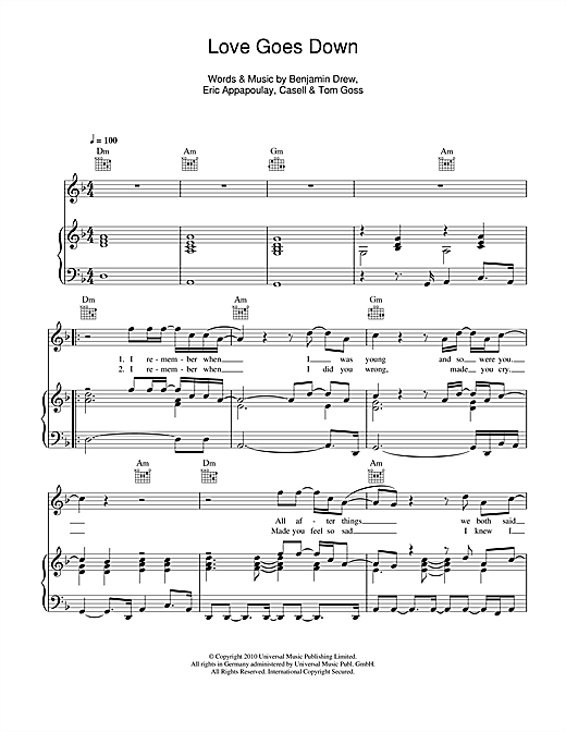 Love Goes Down Sheet Music