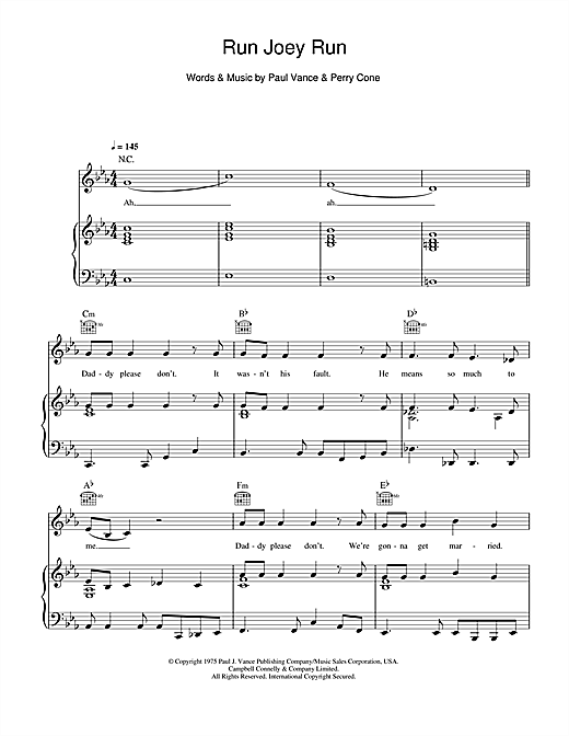 Run Joey Run Sheet Music