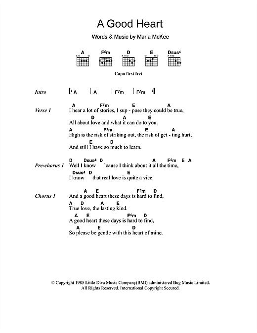 A Good Heart Sheet Music