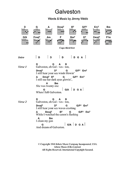 Galveston (Guitar Chords/Lyrics)