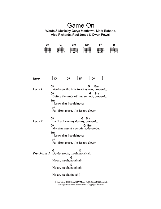 Game On (Guitar Chords/Lyrics)