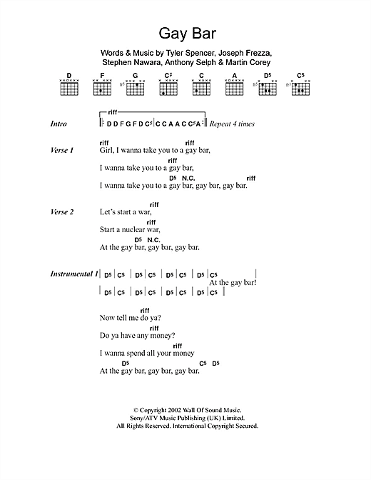 Gay Bar Sheet Music