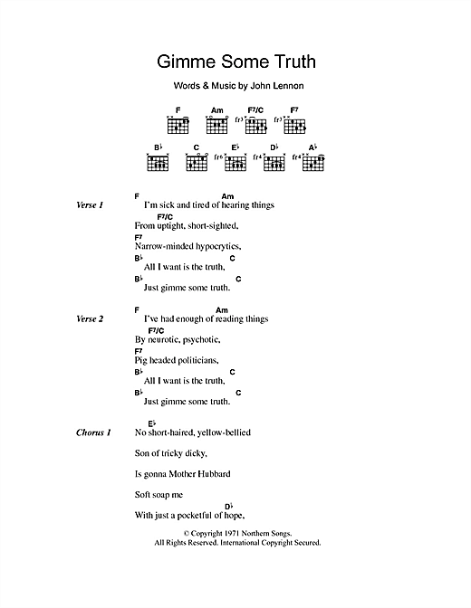 Gimme Some Truth (Guitar Chords/Lyrics)
