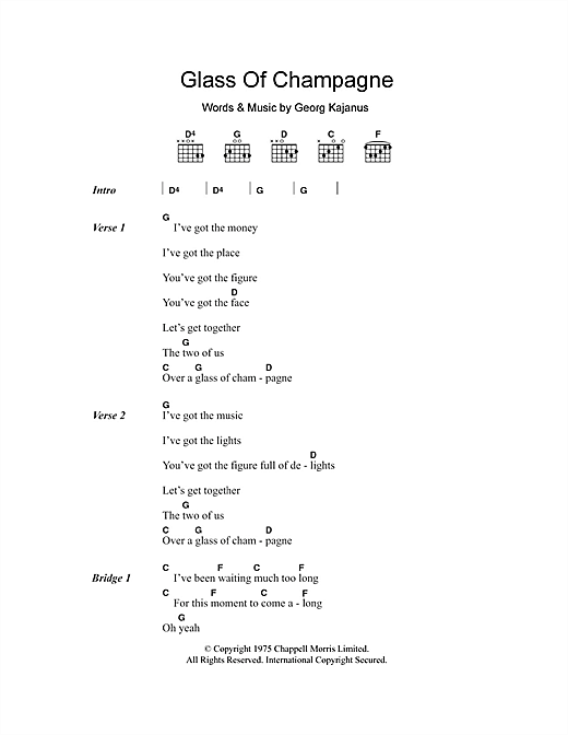 Glass Of Champagne (Guitar Chords/Lyrics)