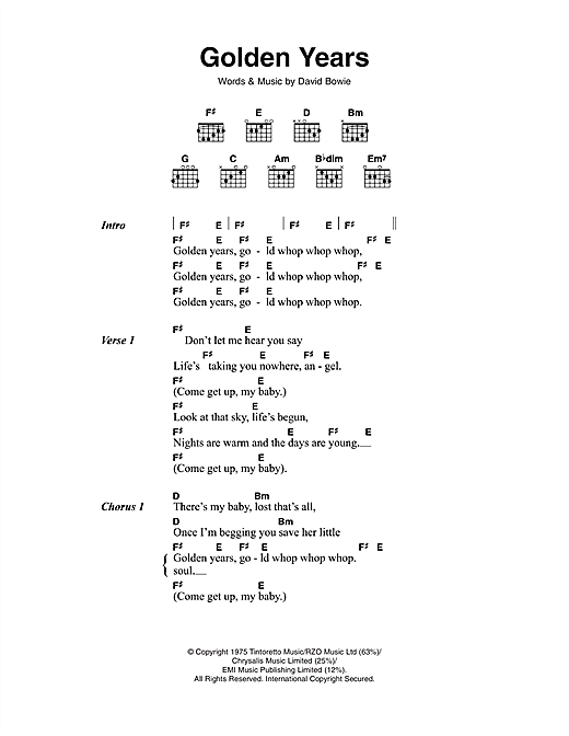 Golden Years (Guitar Chords/Lyrics)