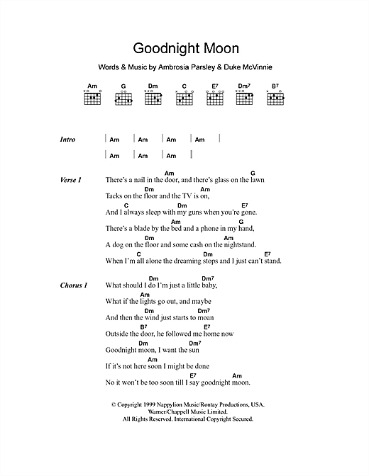 Goodnight Moon sheet music by Shivaree (Lyrics & Chords ...