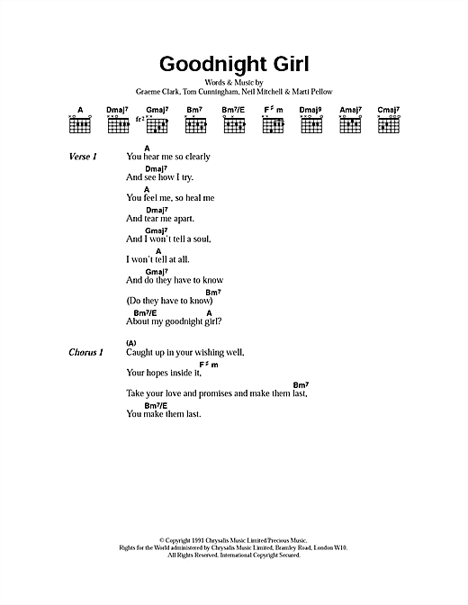 Goodnight Girl Sheet Music