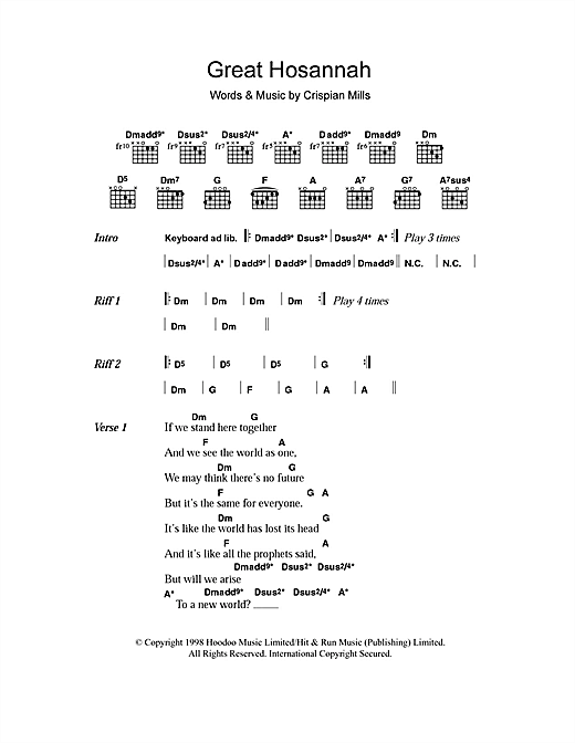 Great Hosannah (Lyrics & Chords)
