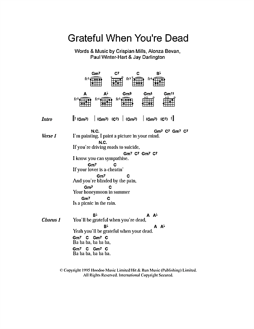 Grateful When You're Dead/Jerry Was There (Guitar Chords/Lyrics)