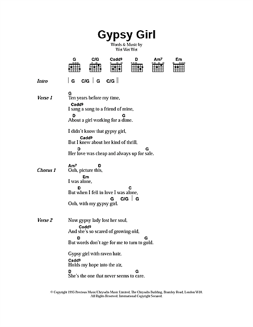 Gypsy Girl Sheet Music