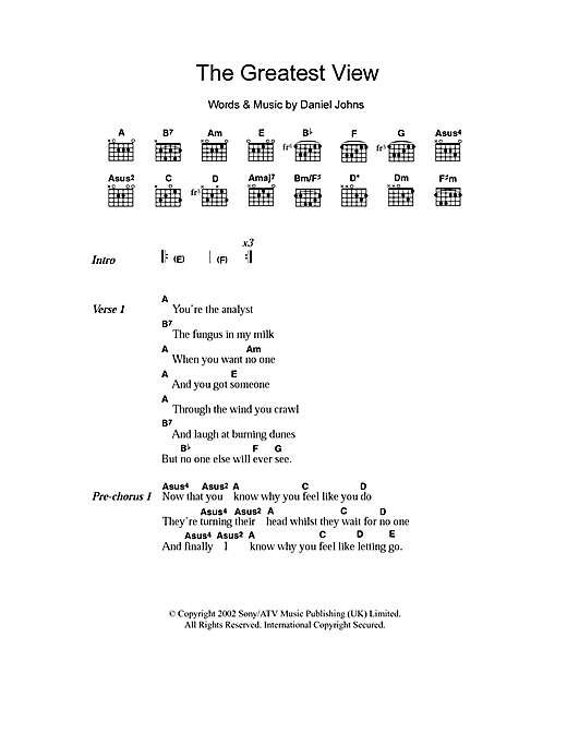 The Greatest View Sheet Music By Silverchair Lyrics Chords 102614