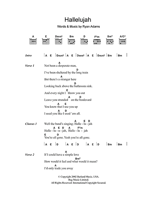 Hallelujah (Guitar Chords/Lyrics)