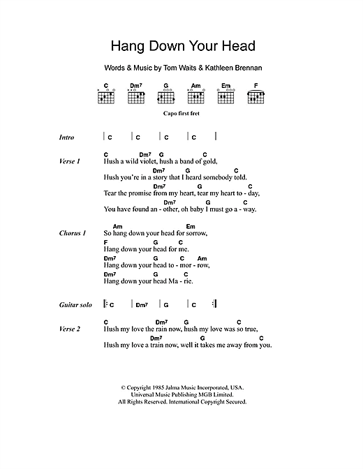 Hang Down Your Head (Guitar Chords/Lyrics)
