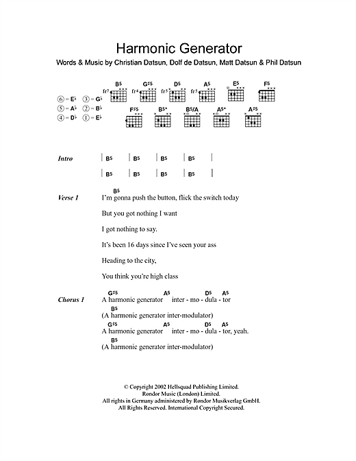 Harmonic Generator (Guitar Chords/Lyrics)