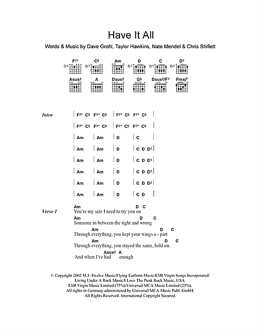 Have It All (Guitar Chords/Lyrics)