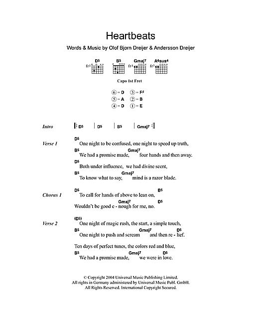 Heartbeats (Guitar Chords/Lyrics)