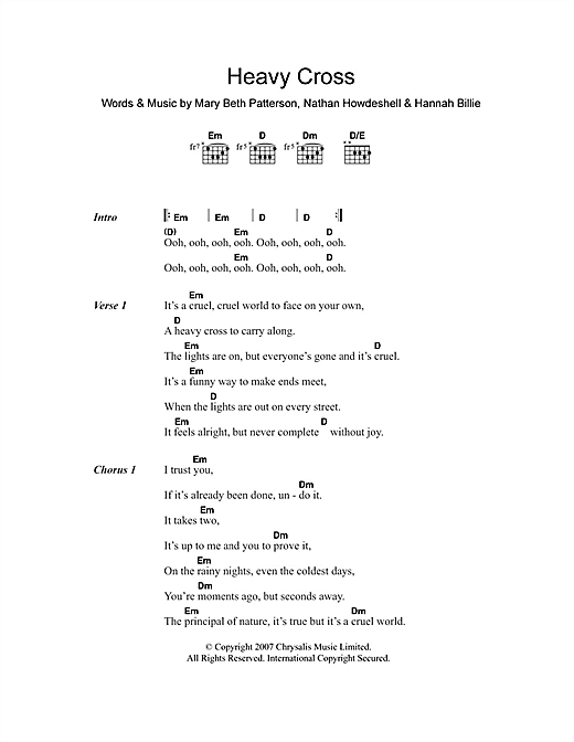 Heavy Cross Sheet Music