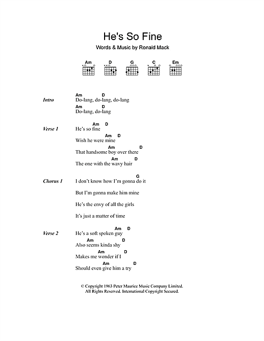 He's So Fine (Guitar Chords/Lyrics)