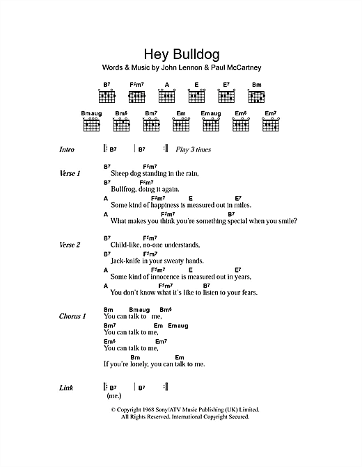 Hey Bulldog Sheet Music By The Beatles Lyrics Chords 102673