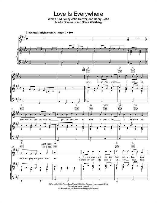 Love Is Everywhere Sheet Music