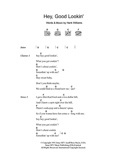 Hey, Good Lookin' (Guitar Chords/Lyrics)