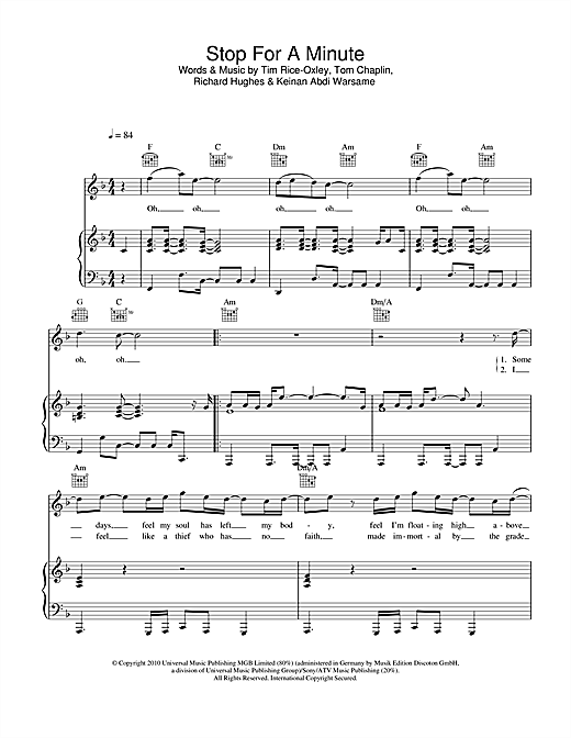 Stop For A Minute Sheet Music