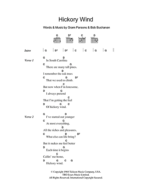 Hickory Wind (Guitar Chords/Lyrics)