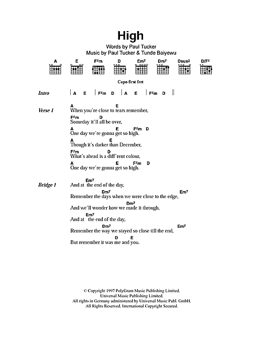 High (Guitar Chords/Lyrics)