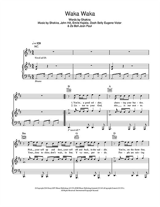 Waka Waka (This Time For Africa) (feat. Freshlyground) Sheet Music