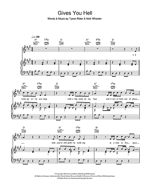Gives You Hell (Piano, Vocal & Guitar (Right-Hand Melody))