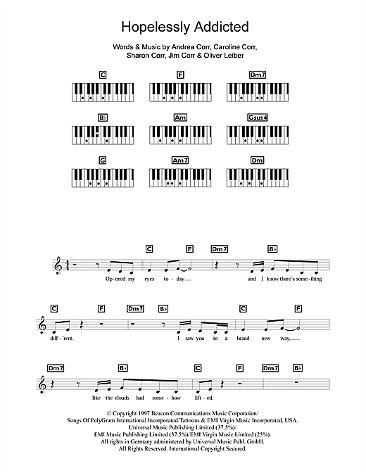 Partition piano Hopelessly Addicted de The Corrs - Synthétiseur