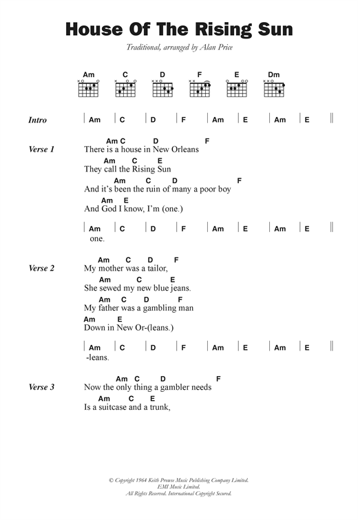 The House Of The Rising Sun sheet music by The Animals (Lyrics u0026 Chords u2013 102720)