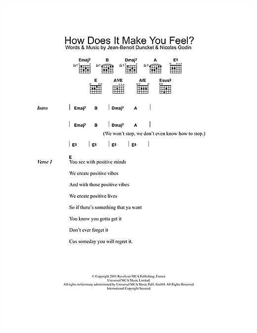 How Do Ya Feel (Guitar Chords/Lyrics)