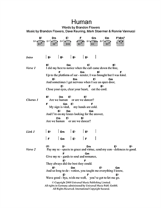 Human Sheet Music By The Killers Lyrics Chords 102739