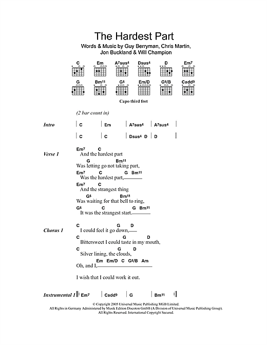 The Hardest Part (Guitar Chords/Lyrics)