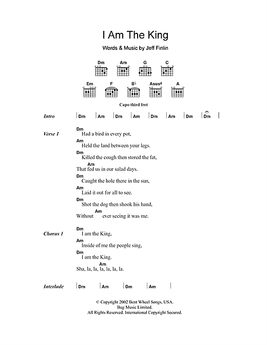 I Am The King Sheet Music