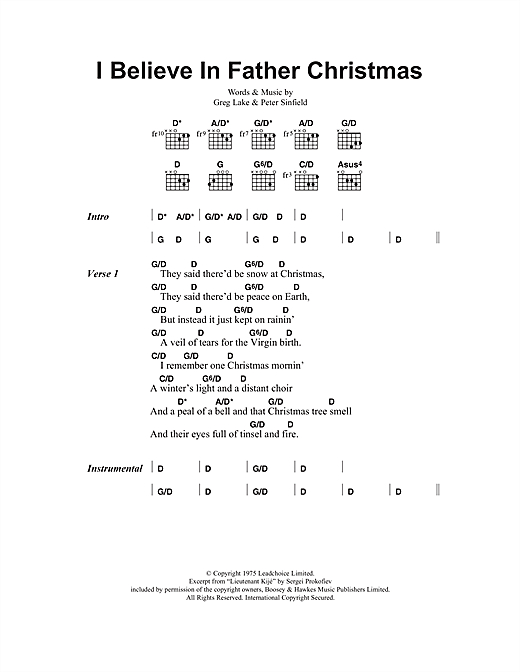 I Believe In Father Christmas (Guitar Chords/Lyrics)