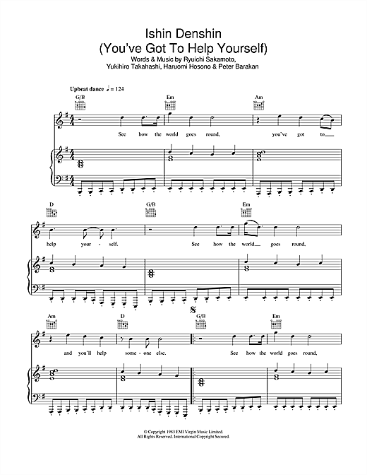 Ishin Denshin (You've Got To Help Yourself) Sheet Music