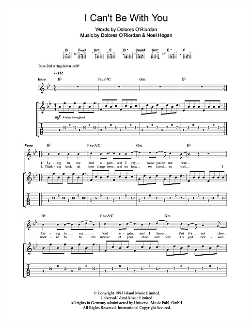 I Can't Be With You Sheet Music