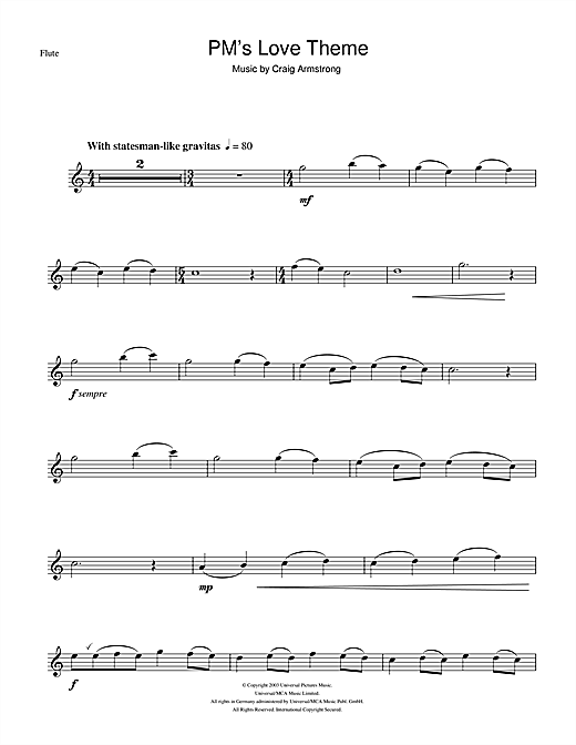 P.M.'s Love Theme (from Love Actually) Sheet Music